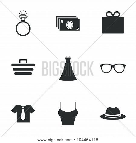 Accessories, clothes icons. Shopping signs.