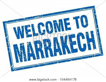 Marrakech Blue Square Grunge Welcome Isolated Stamp