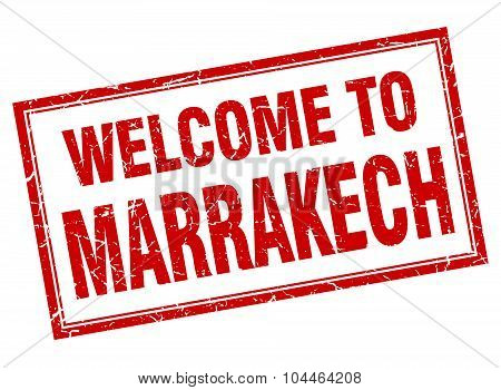 Marrakech Red Square Grunge Welcome Isolated Stamp