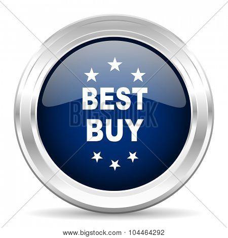 best buy cirle glossy dark blue web icon on white background