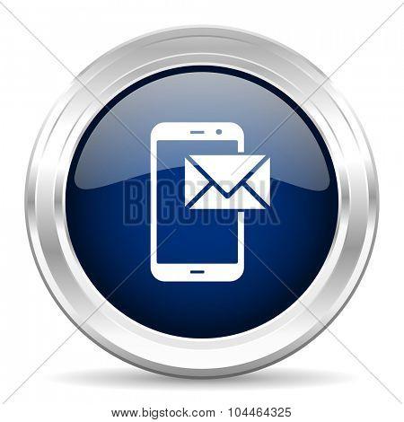 mail cirle glossy dark blue web icon on white background