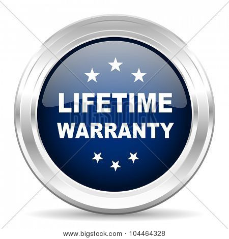 lifetime warranty cirle glossy dark blue web icon on white background