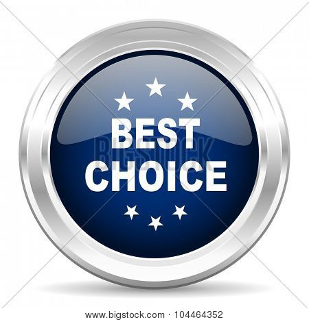 best choice cirle glossy dark blue web icon on white background