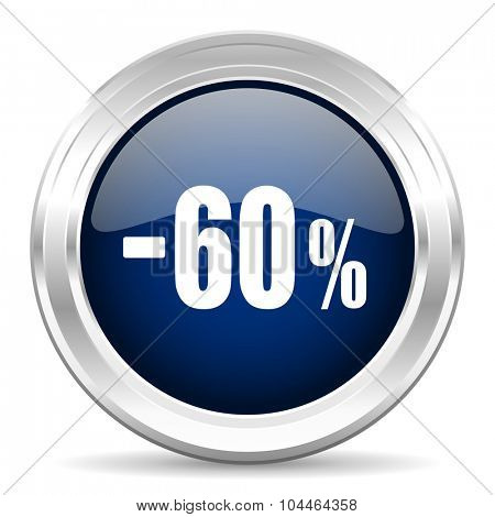 60 percent sale retail cirle glossy dark blue web icon on white background