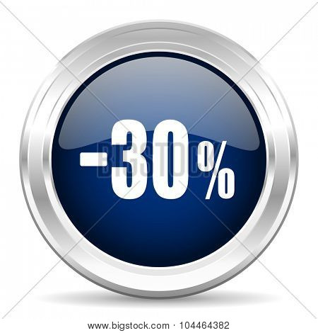 30 percent sale retail cirle glossy dark blue web icon on white background