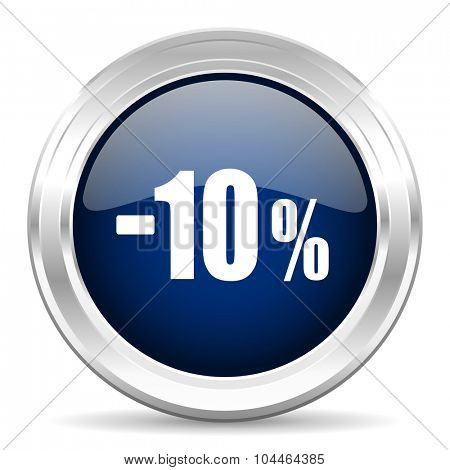 10 percent sale retail cirle glossy dark blue web icon on white background