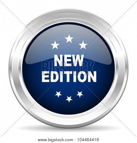 new edition cirle glossy dark blue web icon on white background