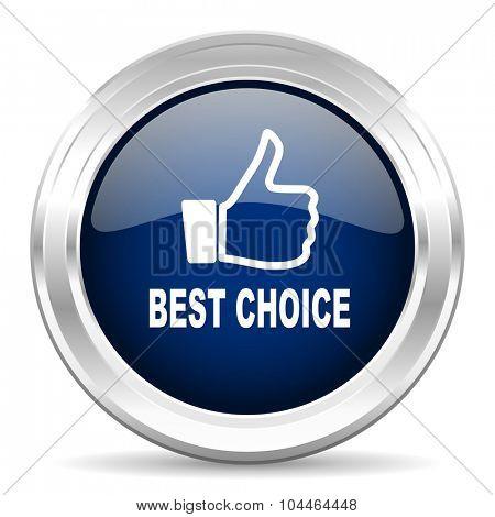 best choice cirle glossy dark blue web icon on white background