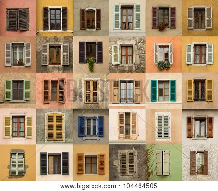 Collage of different windows with colourful louver in Annecy, France