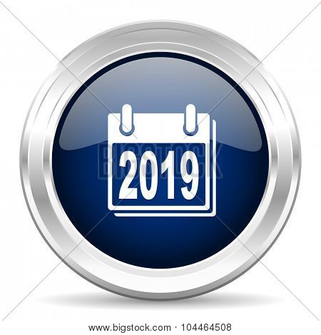 new year 2019 cirle glossy dark blue web icon on white background