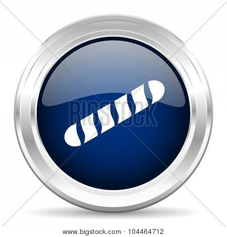 baguette cirle glossy dark blue web icon on white background