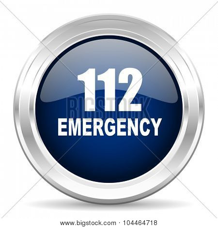 number emergency 112 cirle glossy dark blue web icon on white background