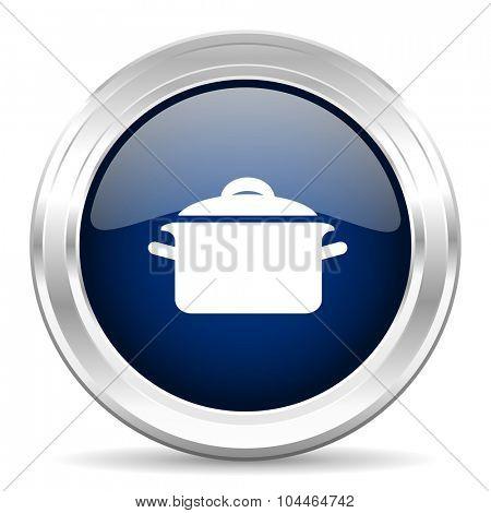 cook cirle glossy dark blue web icon on white background