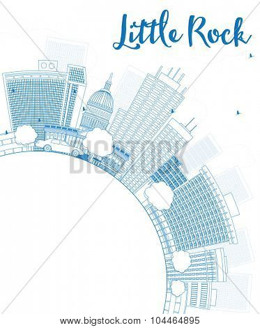 Outline Little Rock Skyline with Blue Building and copy space. Business travel and tourism concept with place for text. Image for presentation, banner, placard and web site.
