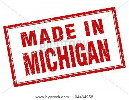Michigan Red Square Grunge Made In Stamp