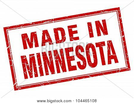 Minnesota Red Square Grunge Made In Stamp