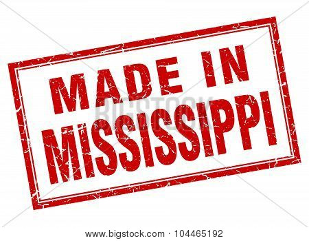 Mississippi Red Square Grunge Made In Stamp