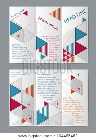 Vector  business brochure or magazine cover  template with triangles.