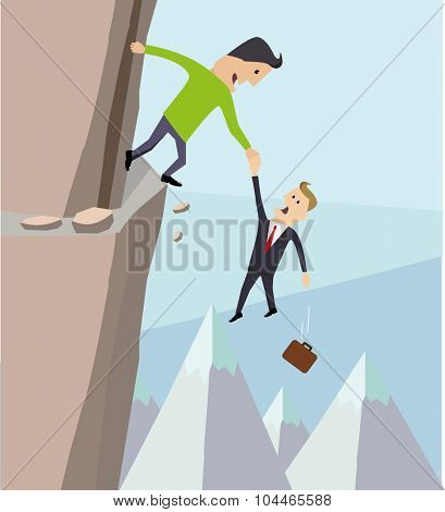 The metaphor of partnership. Businessman holding a partner over a cliff.