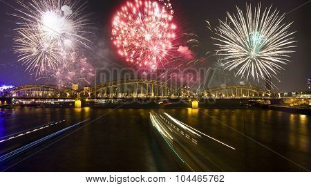 Firework over the Rhine river in Cologne, North Rhine-Westphalia, Germany