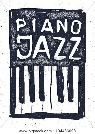 Playing the jazz piano. Hand drawn Vector illustration.