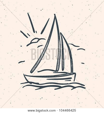 Vector illustration with hand drawn sail boat. Vector baclground