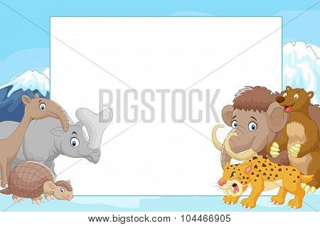 Collection of ice age animals with blank sign