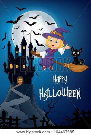 Little witch and a black cat flying on broomstick with full moon and castle background