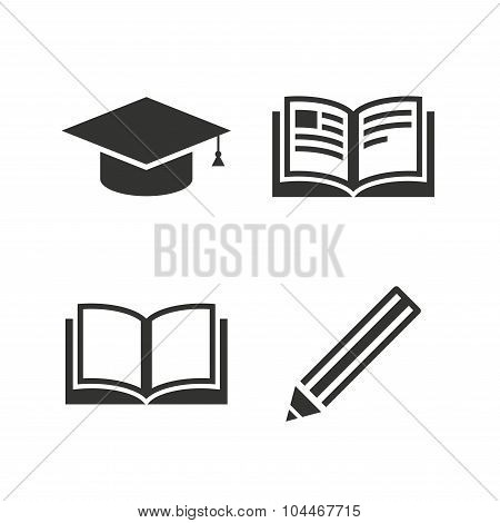 Pencil and open book signs. Graduation cap icon.
