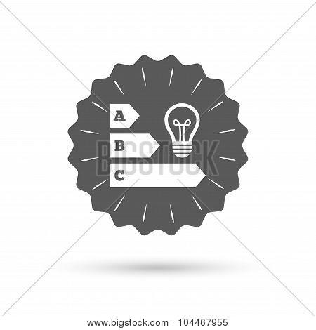 Energy efficiency icon. Idea lamp bulb symbol