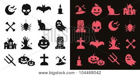 Halloween vector icons set. Pumpkin head, witch broom, candy halloween hat. Black halloween icons set, halloween silhouette for halloween party design. Halloween night, ghost, black cat, zombie