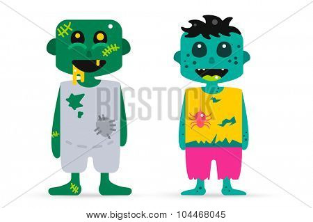 Monster zombie cartoon characters isolated vector silhouette. Cartoon monsters, zombie cartoon flat. Halloween costume character, halloween zombie comic bubble. Monster kids costume, zombie cartoon