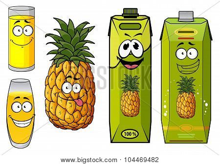 Pineapple juice packs, fruit and glasses