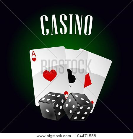 Casino icon with playing cards and dice