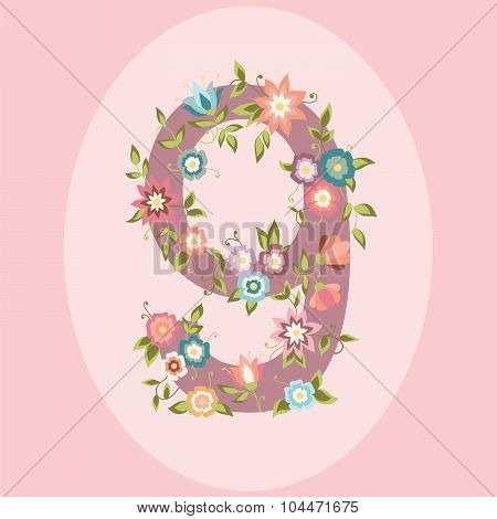 Vector Floral Number