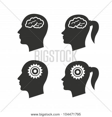 Head with brain icon. Male and female human symbols.