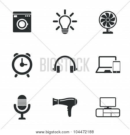 Home appliances, device icons. Ventilator sign.