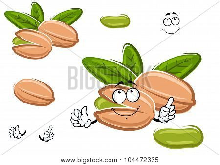 Smiling happy cartoon pistachio nut