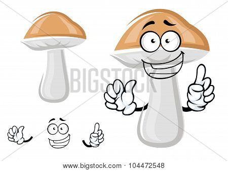 Cute cep mushroom with a happy smile