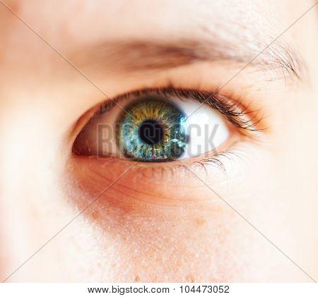 Close-up macro human female child eye