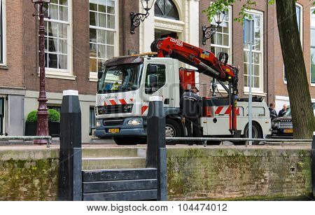 Car Tower - Hoist Works On The Street In Amsterdam