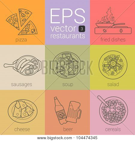delicious food from restaurants in a thin contour icons painted in the vector.