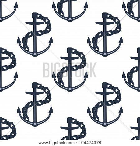 Ship anchors nautical seamless pattern