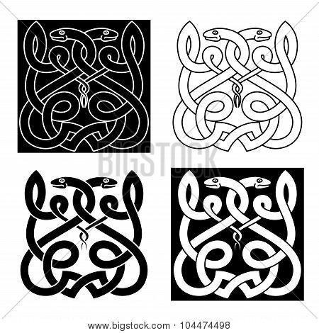 Celtic snakes ornament with tribal elements