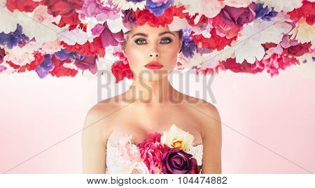 Flower style portrait of a young beauty