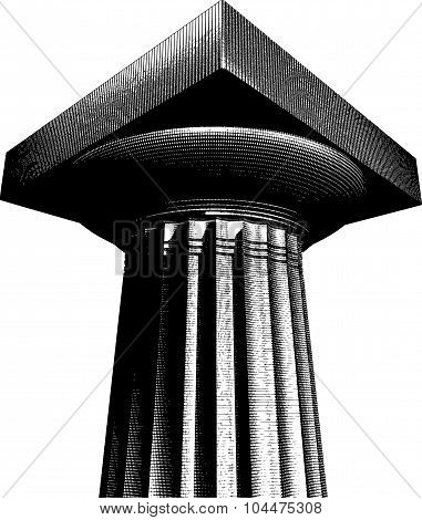 Halftone Etch Effect Greek Archaic Doric Column