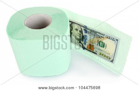 Light green roll of toilet paper and dollar banknote isolated on white