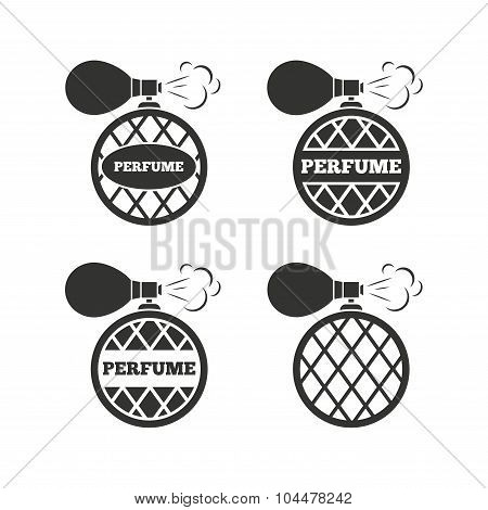Perfume bottle icons. Glamour fragrance signs.