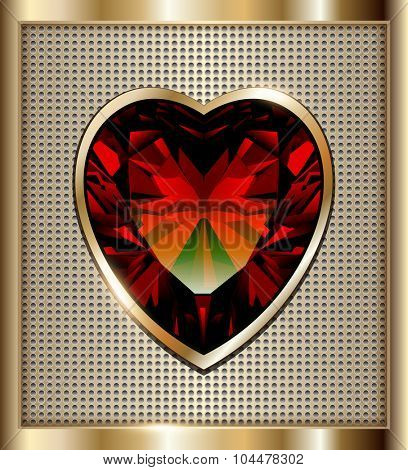 Gold background with ruby red heart, vector illustration