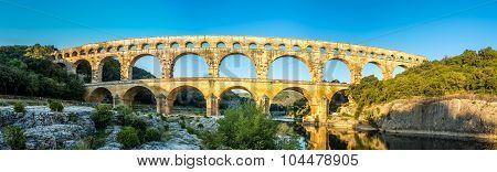 Panoramic View At Pont Du Gard Bridge